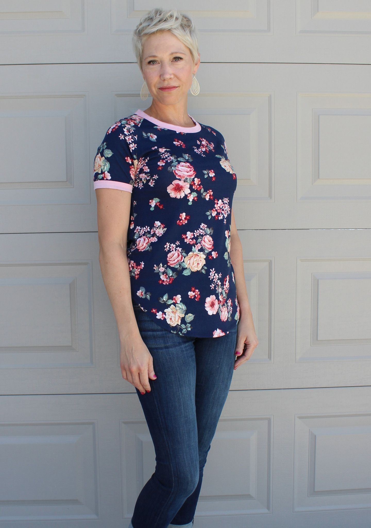 Navy or White Floral Tee Shirt