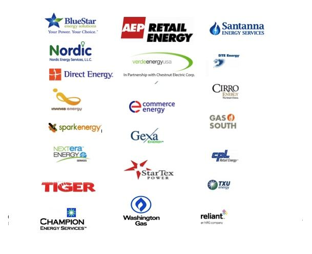 Just A Short List Of Our Current Electricity And Natural Gas Suppliers Gas Energy Energy Services Energy Deregulation