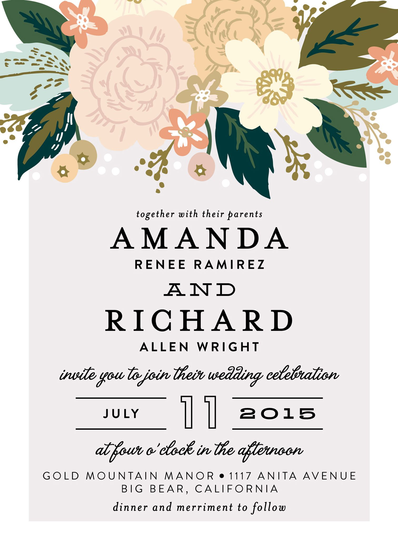 The Wedding Invitation Floral Blush Peach Green Wedding Decor
