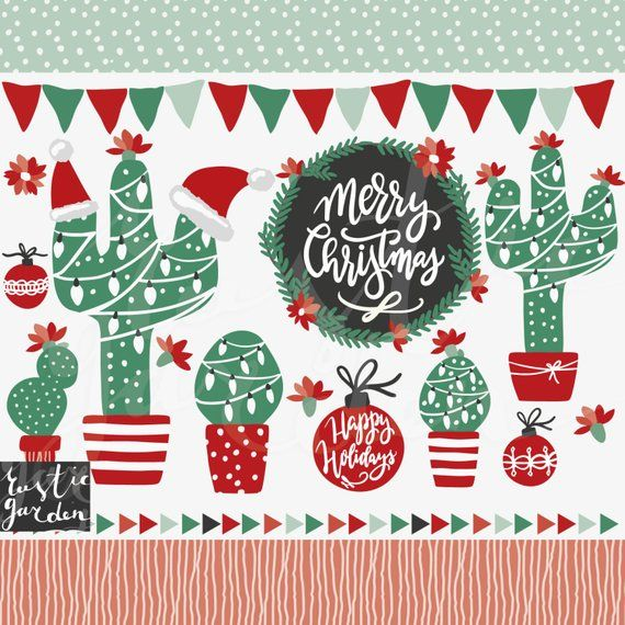 Merry Christmas In July Clipart.Christmas In July Cactus Clipart Wreath Calligraphy For