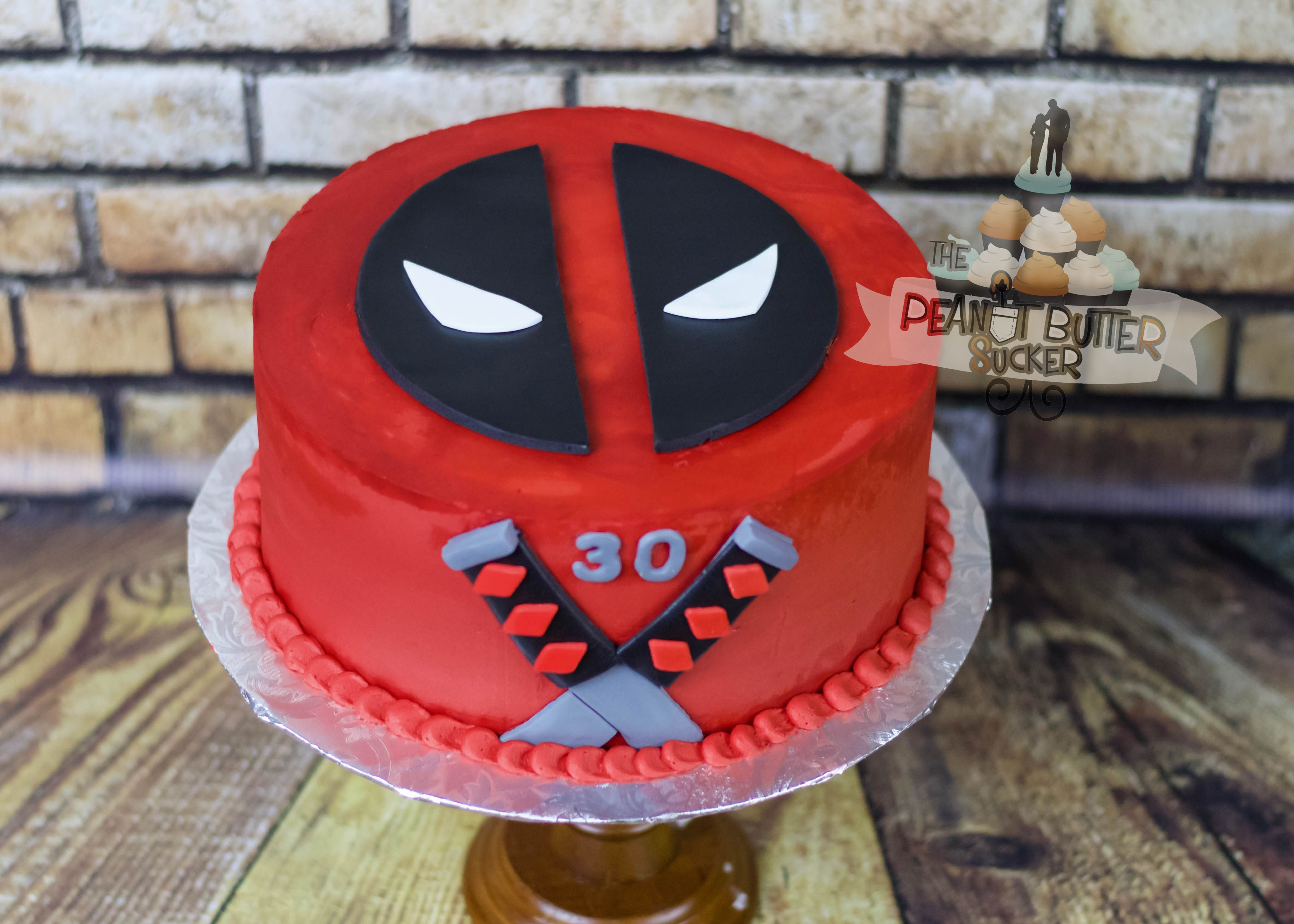 Deadpool Round Cake With Images Deadpool Cake Deadpool