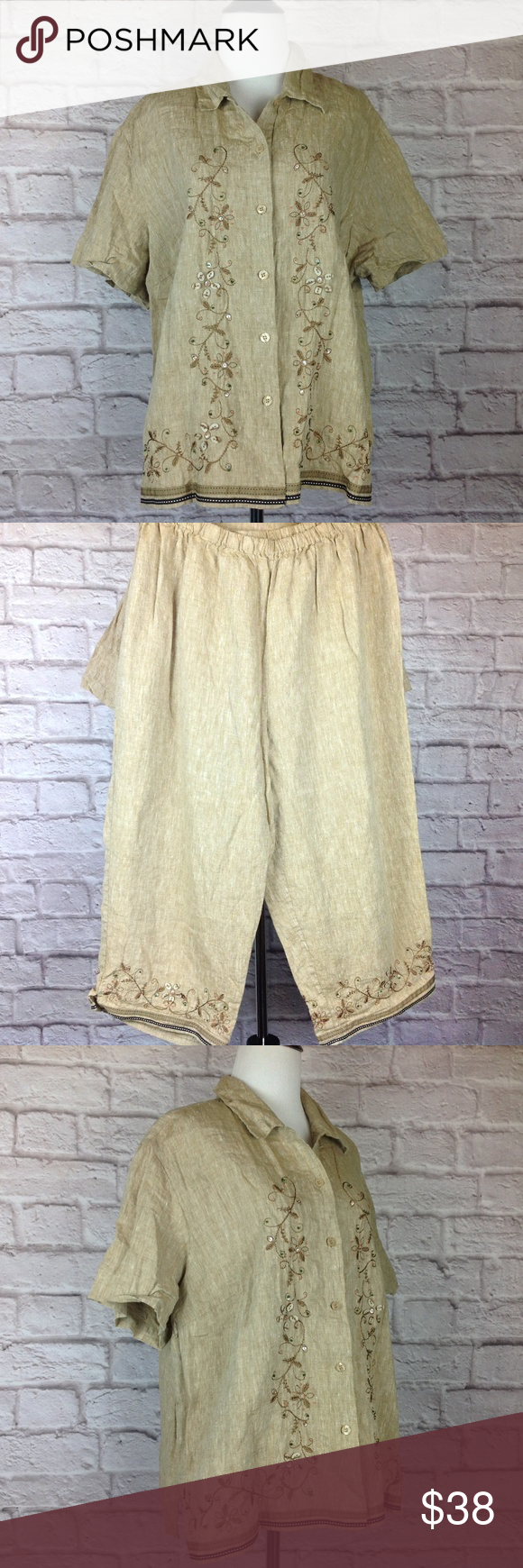 882210c8bfd Dress Barn Top Capri Pants Set Women 18W 20W Linen Great Condition Dress  Barn Top Capri