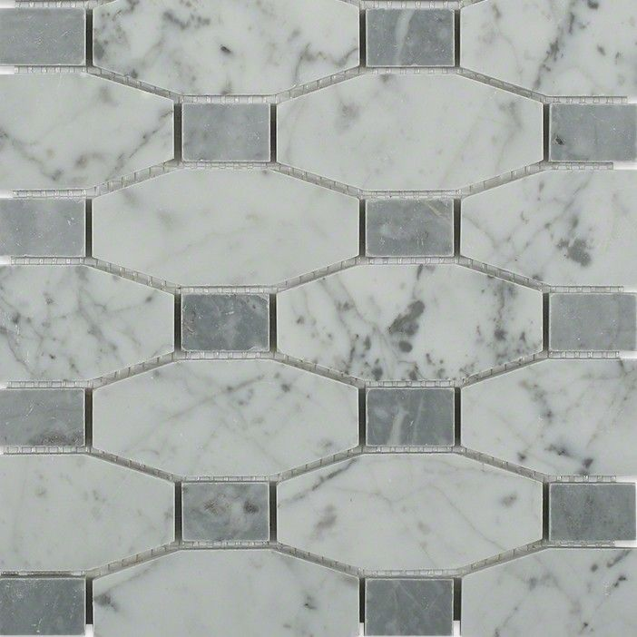 Octave White Carrera With Light Bardiglio Dot Marble Mosaic Tiles Polished Marble Tiles Marble Mosaic