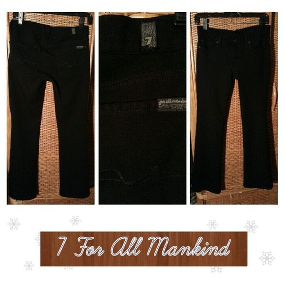 7 For All Mankind bootcut jeans 29 inch inseam.   Black super stretch bootcut jeans with 5 pockets.  Made of spandex / nylon/viscose. 7 for all Mankind Jeans Boot Cut