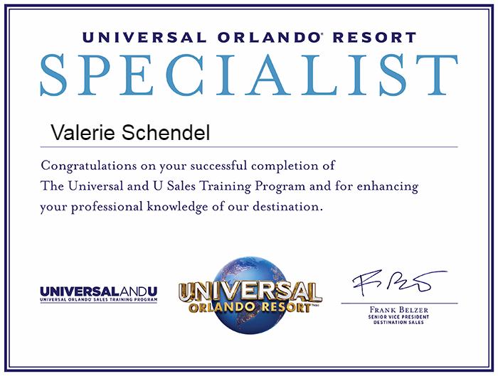 """Universal Travel Agent"" Certificate"