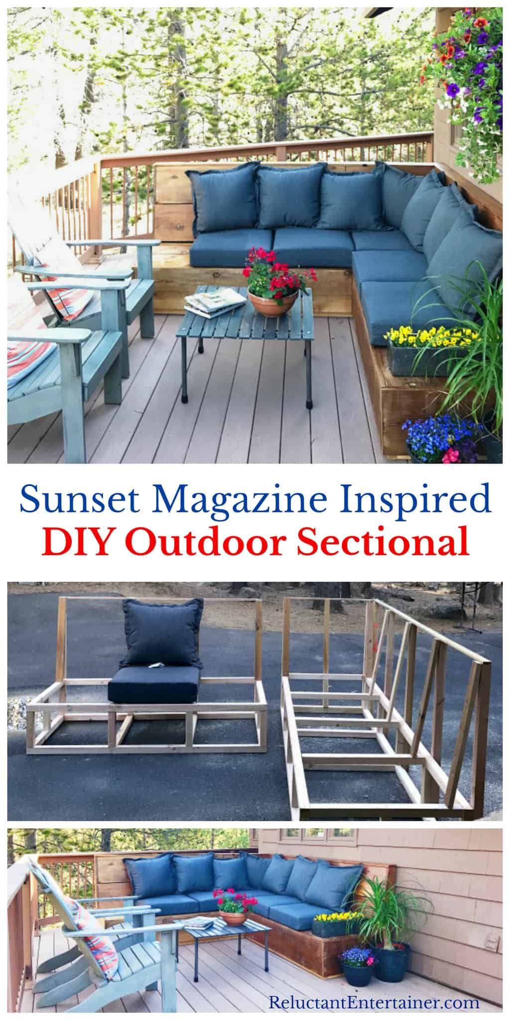 Sunset Magazine Inspired Diy Outdoor Sectional L Shaped Couch Is Made Of Cedar Boards With Comfortable Thick Cushions