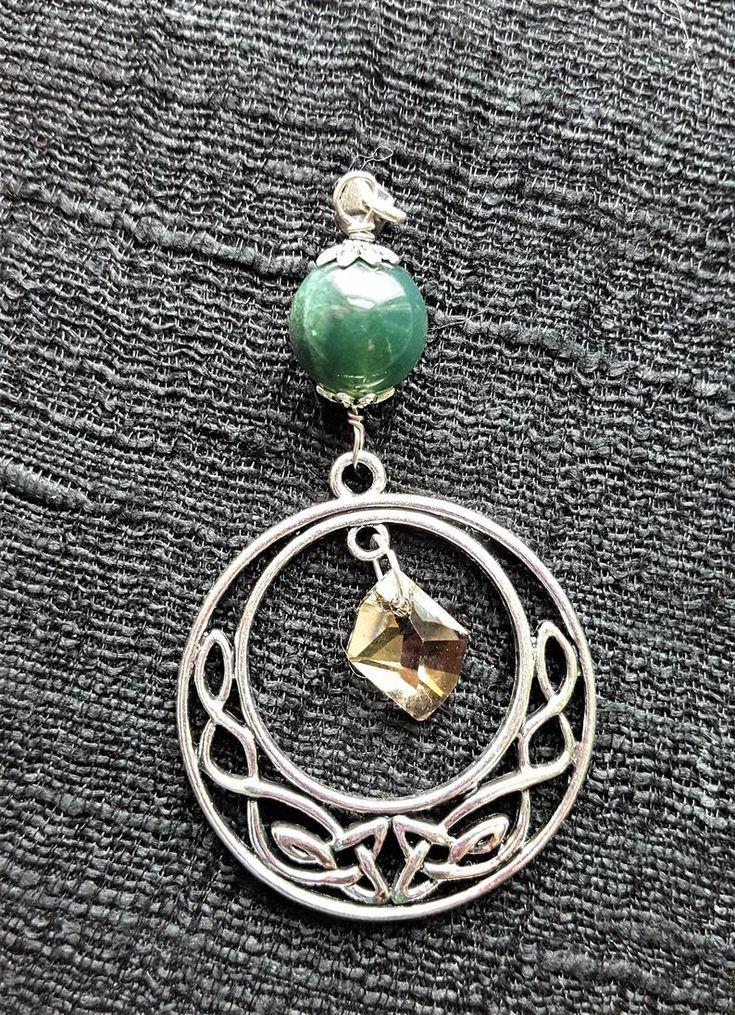 Celtic infinity charm moss agate swarovski crystal