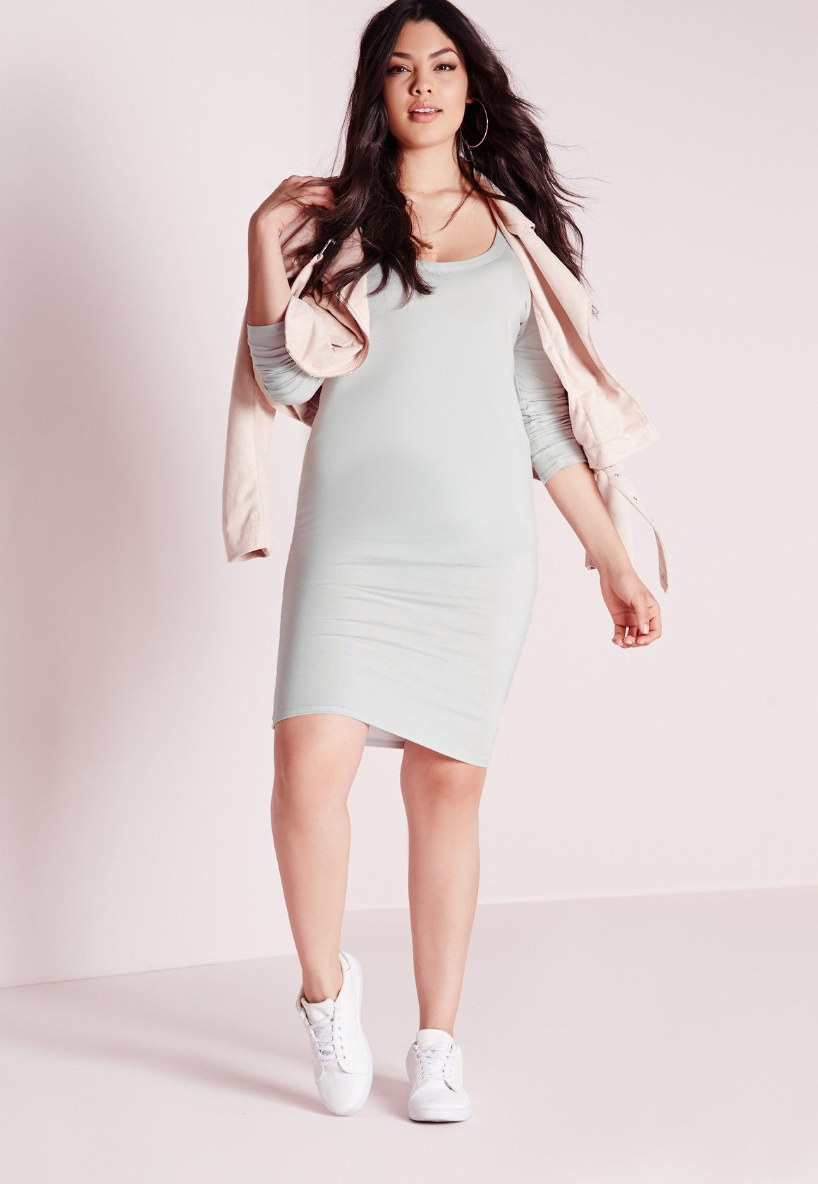 Missguided Plus Size Midi Long Sleeve Dress Ice Grey