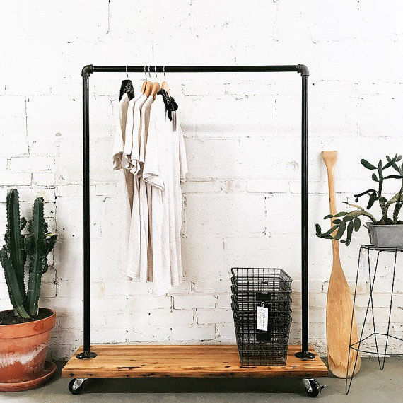 Rustic Industrial Reclaimed Wood Retail Rolling Garment Rack