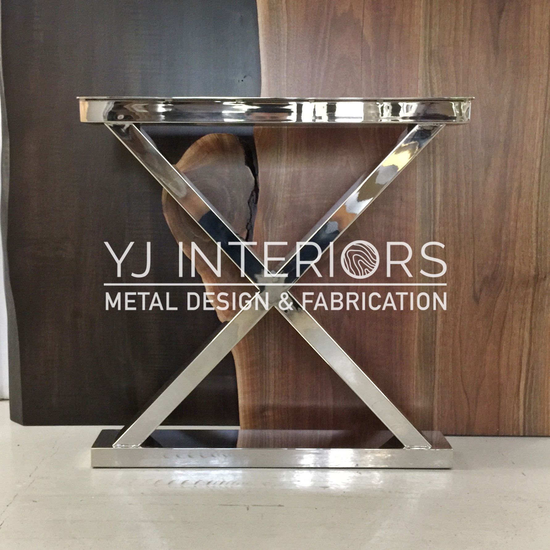 The X Polished Chrome Mirror Finish Stainless Steel Metal Table