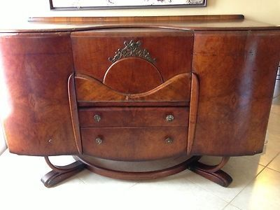 antique beautility art deco sideboard bar cocktail cabinet buffet burled walnut