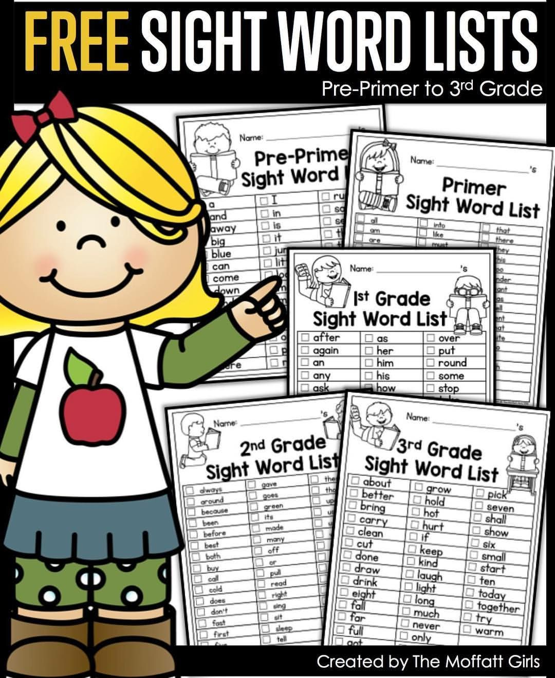 Grab these free sight word lists direct link in profil
