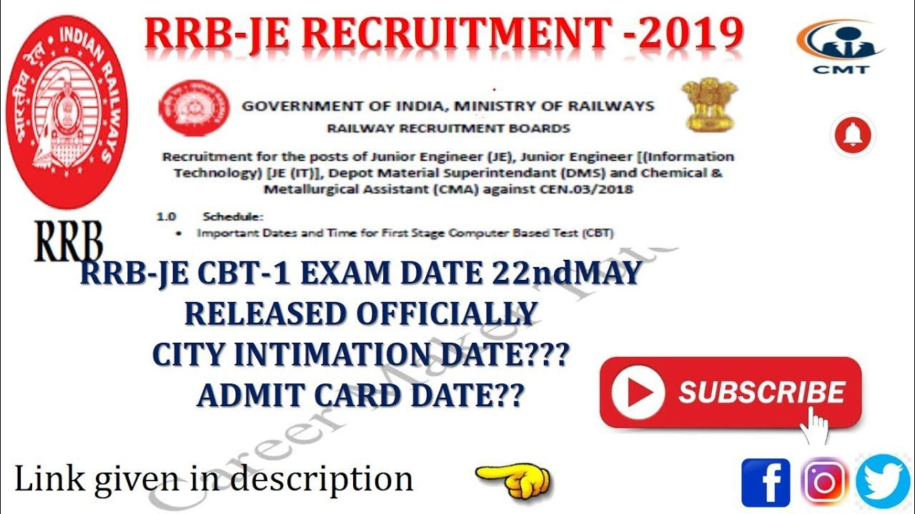 Rrb Je Cbt 1 Exam Date Announced Admit Card Schedule Cbt