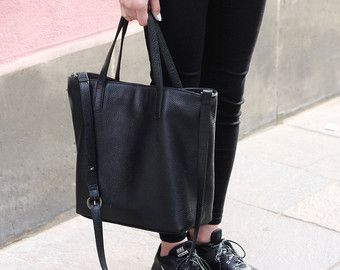 4bc581eda213 DOMI Top Zip Black Leather Tote Bag by MISHKAbags on Etsy