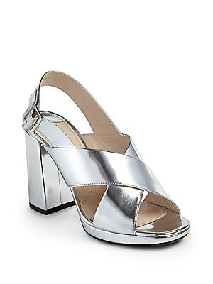f88a4f44761 Prada Metallic Leather Crisscross Block-Heel Sandals