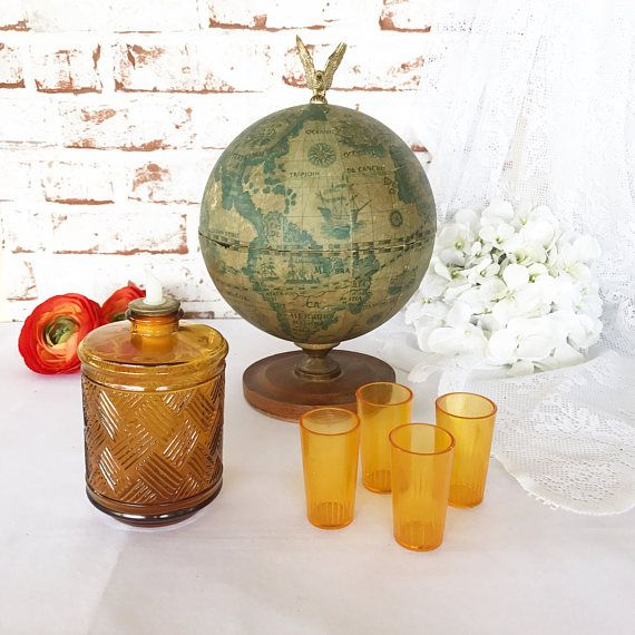Retro Old World Globe Bar Decanter Set Vintage Shot Glass Bar Wares Orange  Amber Office Kitchen