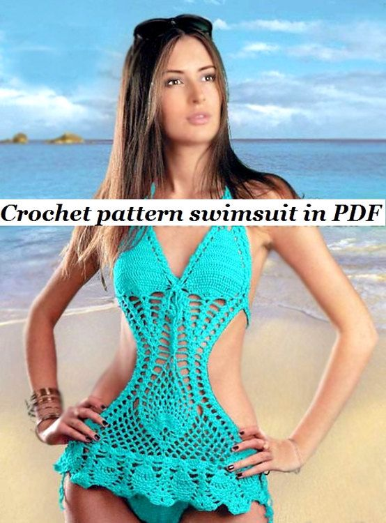 Crochet Pattern Monokini instruction with Charts, pictures in PDF ...