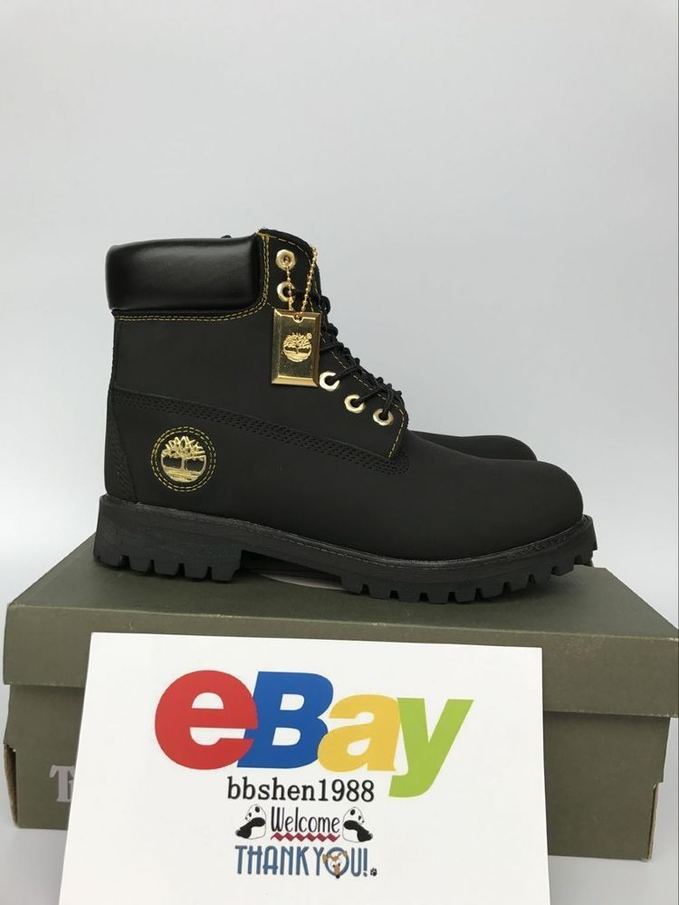 0137b010638a8f New Timberland Classic 6 Inc Premium Black Gold Nubuck Leather Waterproof  Boot  Timberland  SnowWinter