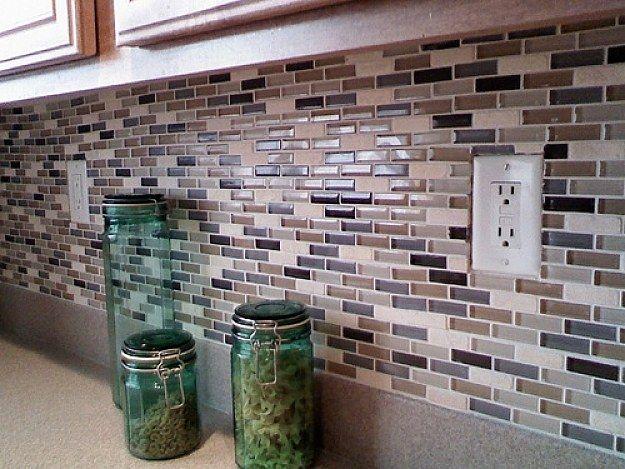 glass stone subway mosaic tile kitchen backsplash in terra milan rh pinterest com subway tile backsplash with mosaic accent White Mosaic Tile Backsplash