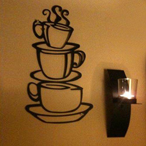 Removable DIY Kitchen Decor Coffee House Cup Decals Vinyl Metal Mug