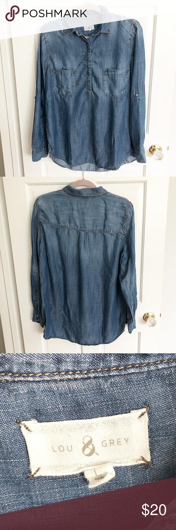 b76e9e0f Lou & Grey Denim Chambray Tunic Lou & Grey Denim Chambray Tunic Size Large  Great condition 100% Lyocell Lou & Grey Tops Button Down Shirts