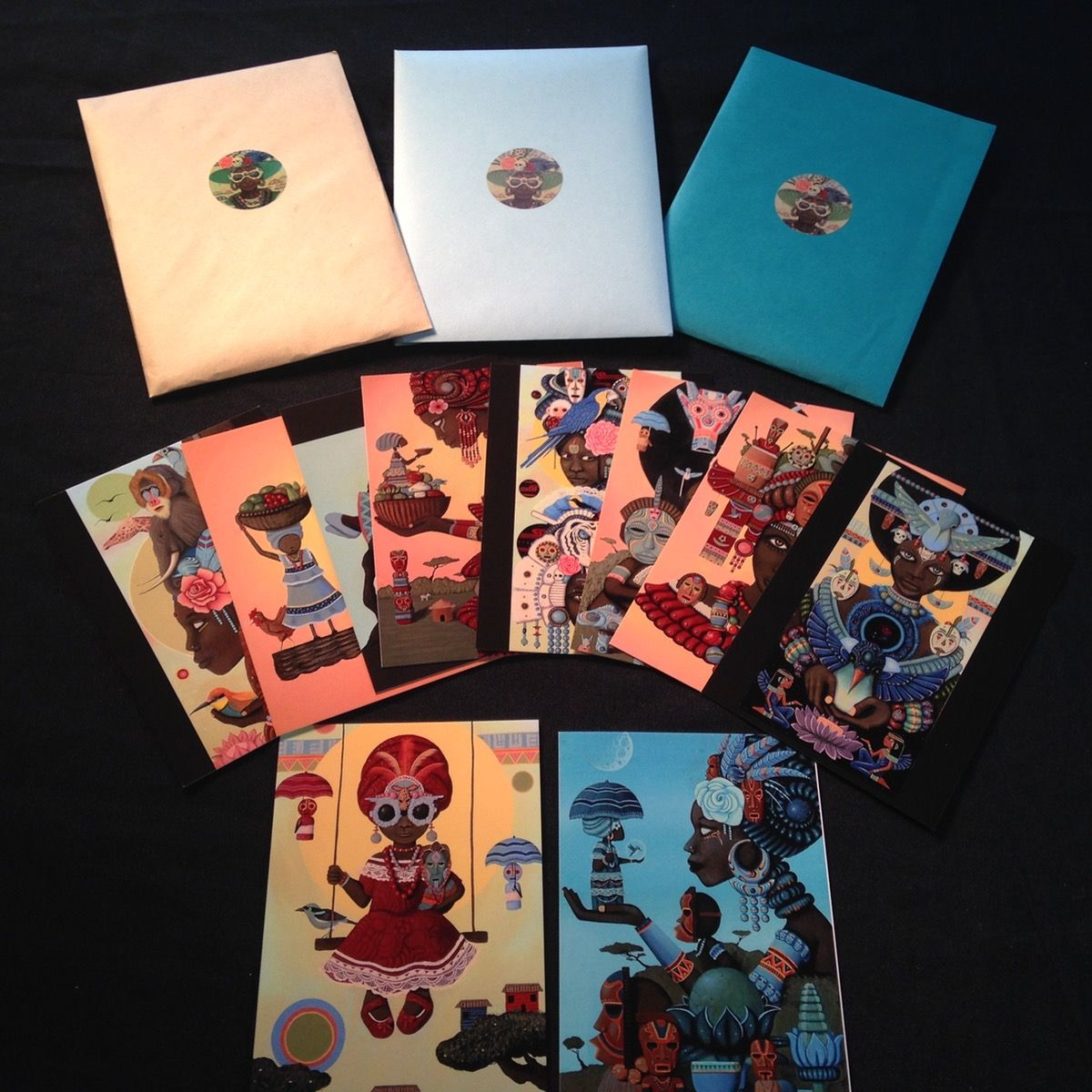 """""""Behind the Wooden Mask""""  Postcard set / Paul Lewin Store"""