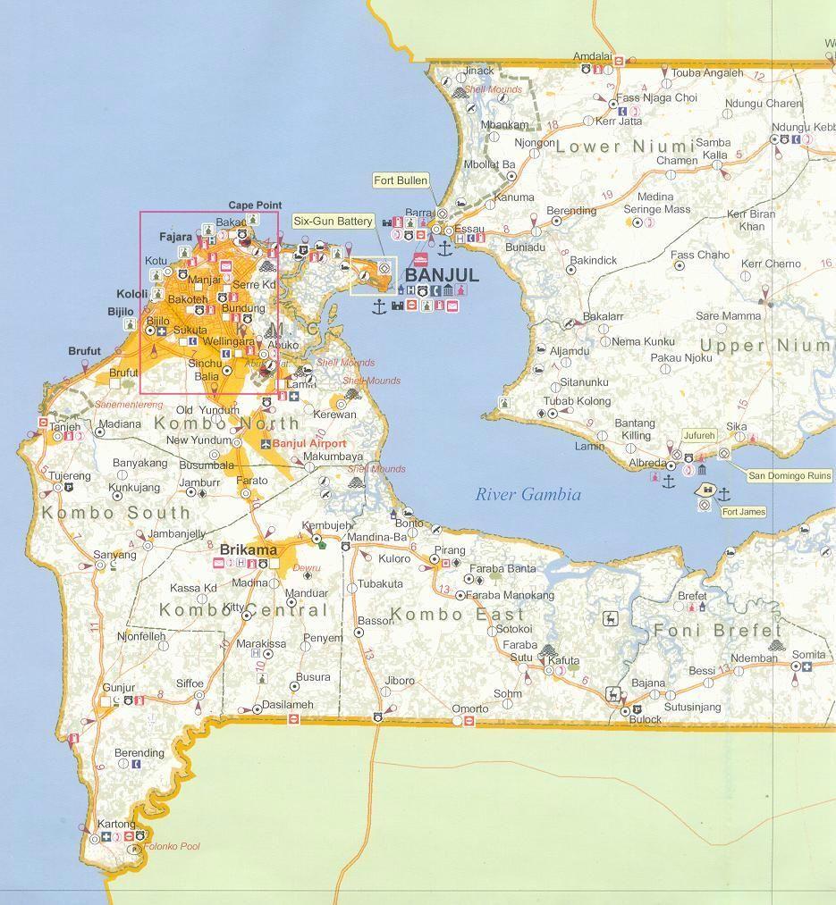 West part of Gambia map showing main coastal resorts Brikama