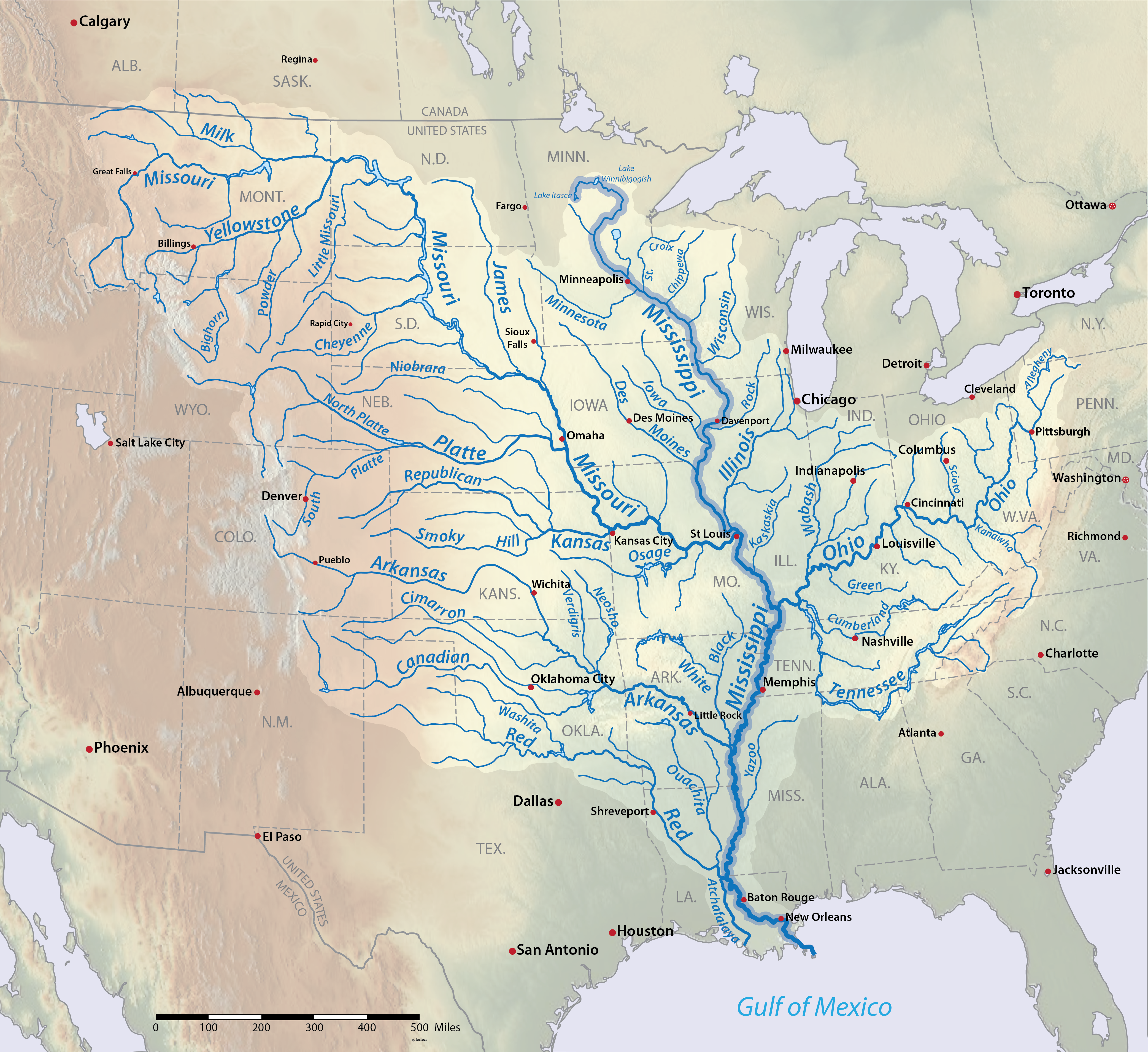 Mississippi River And Its Tributaries X Riversmammary - Us map with all the rivers