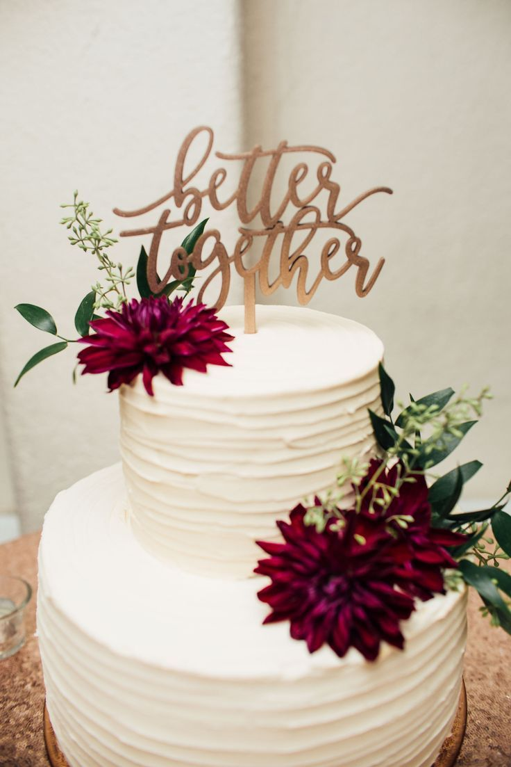 Simple 2tier textured cake, burgundy dahlias, Better