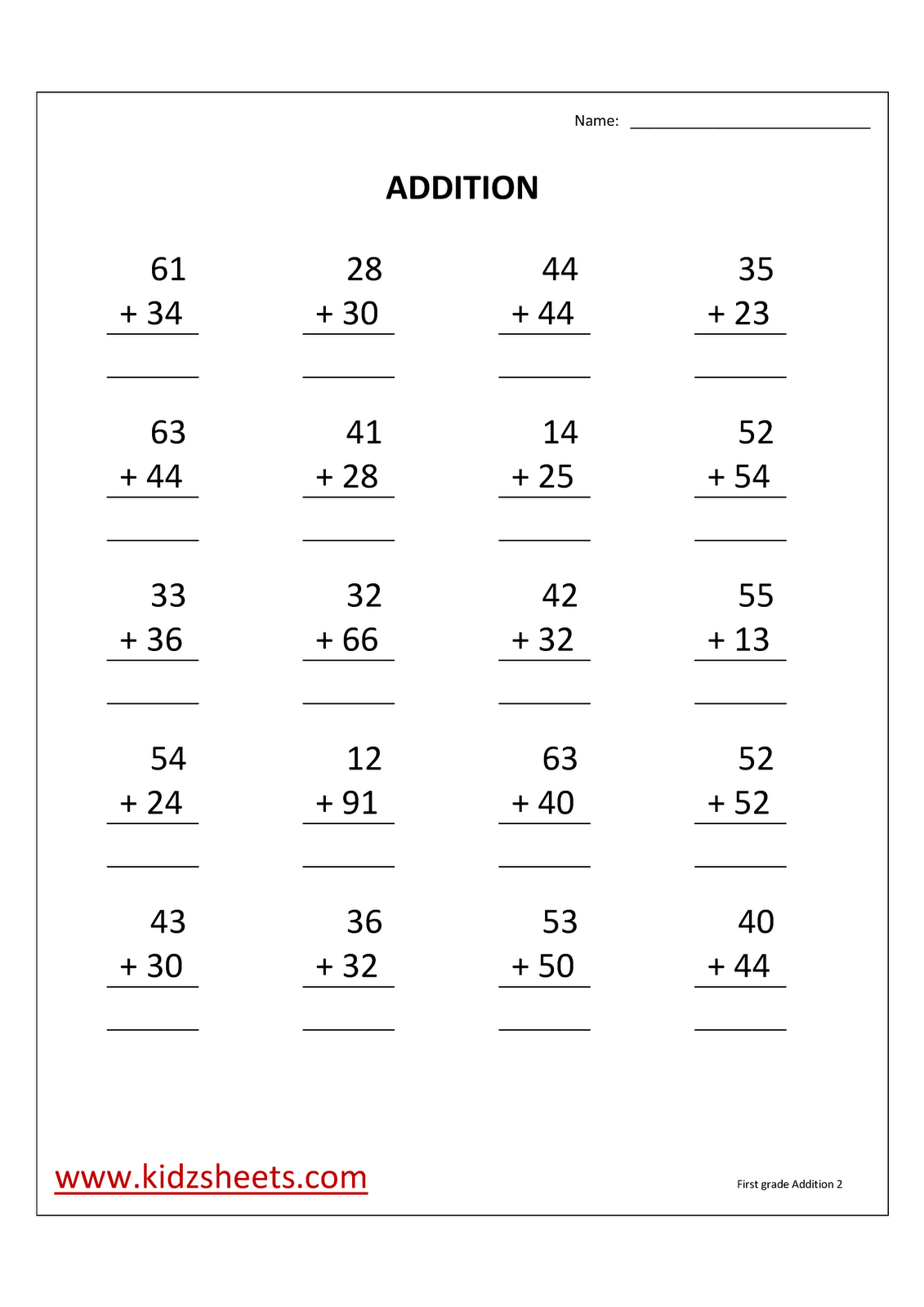 medium resolution of First Grade Math Addition Worksheets   2nd grade math worksheets