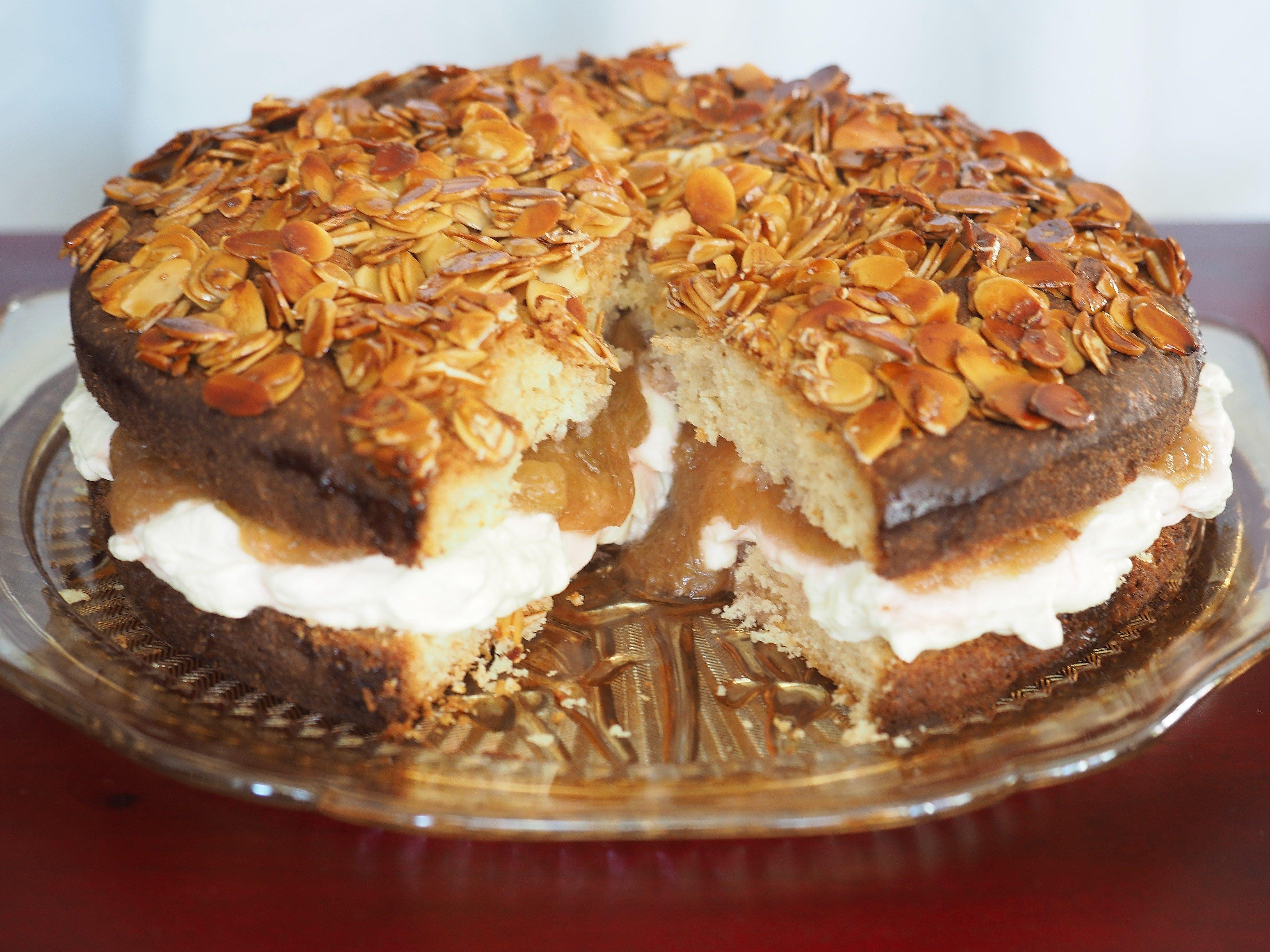 Rhubarb Bienenstich Bee Sting Cake