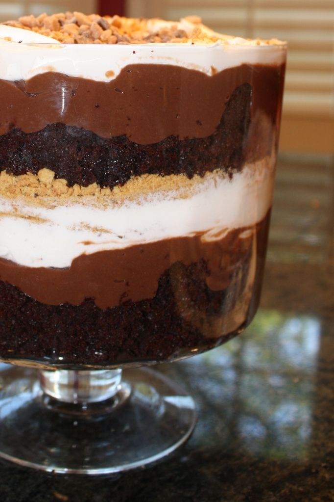 famous Smores Chocolate Trifle! Layers of Devil's Food Cake, Chocolate Pudding, marshmellow creme and Cool Whip, Graham Cracker Crumbs and Chocolate Chips mmmm