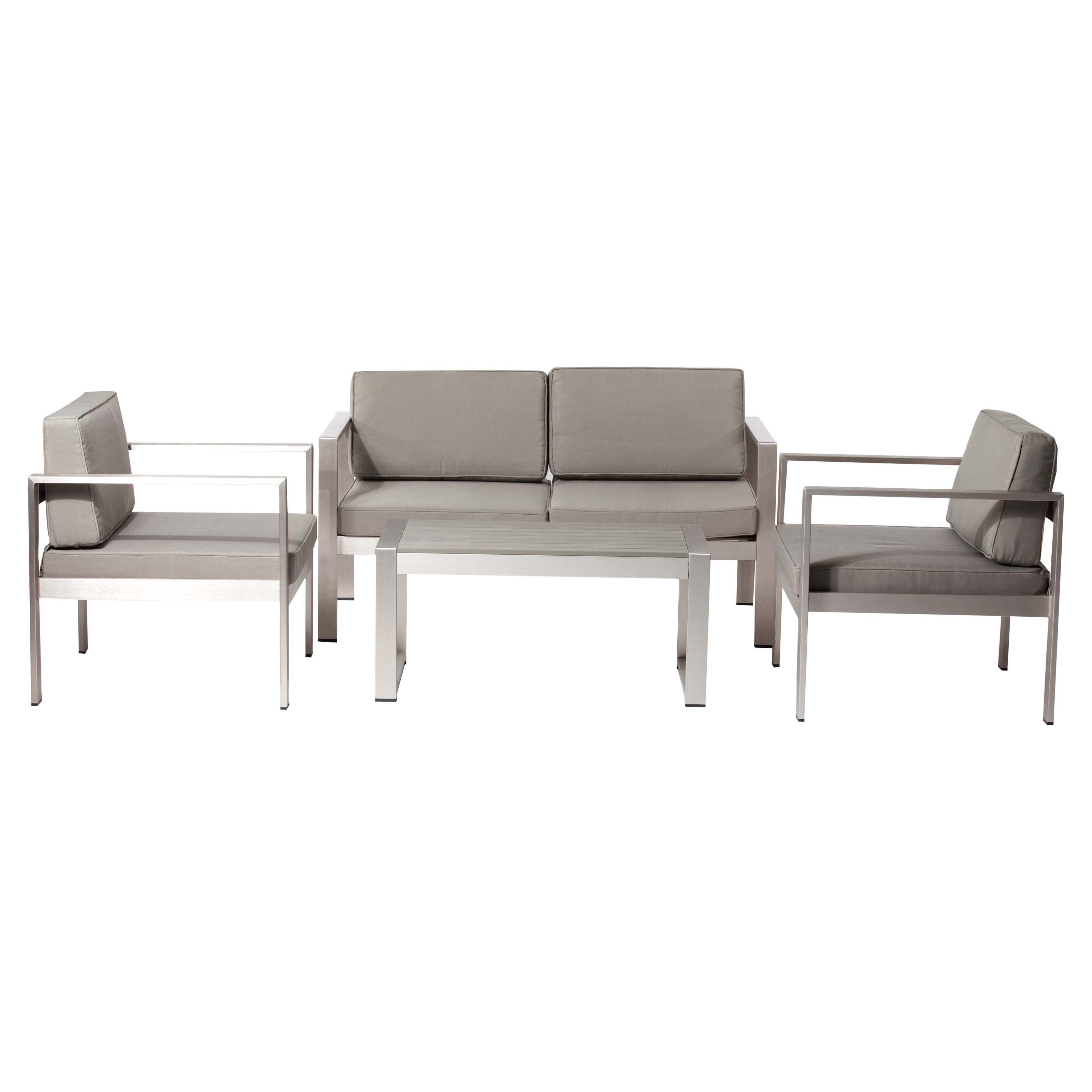 Pangea Outdoor Karen Aluminum 4 Piece Patio Conversation Set