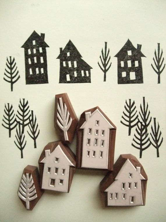 Winter street rubber stamps | house + tree stamps | hand carved stamps for diy christmas, winter crafts, card making, block printing #stampshandmade