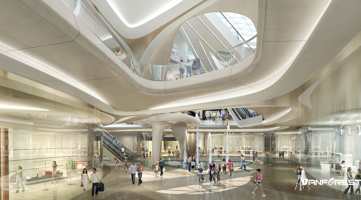 Interior renderings of shopping mall 3d architecture - Interior design shopping websites ...