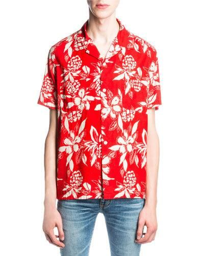 719fb46a22b24 SAINT LAURENT Hibiscus-Print Hawaiian Shirt