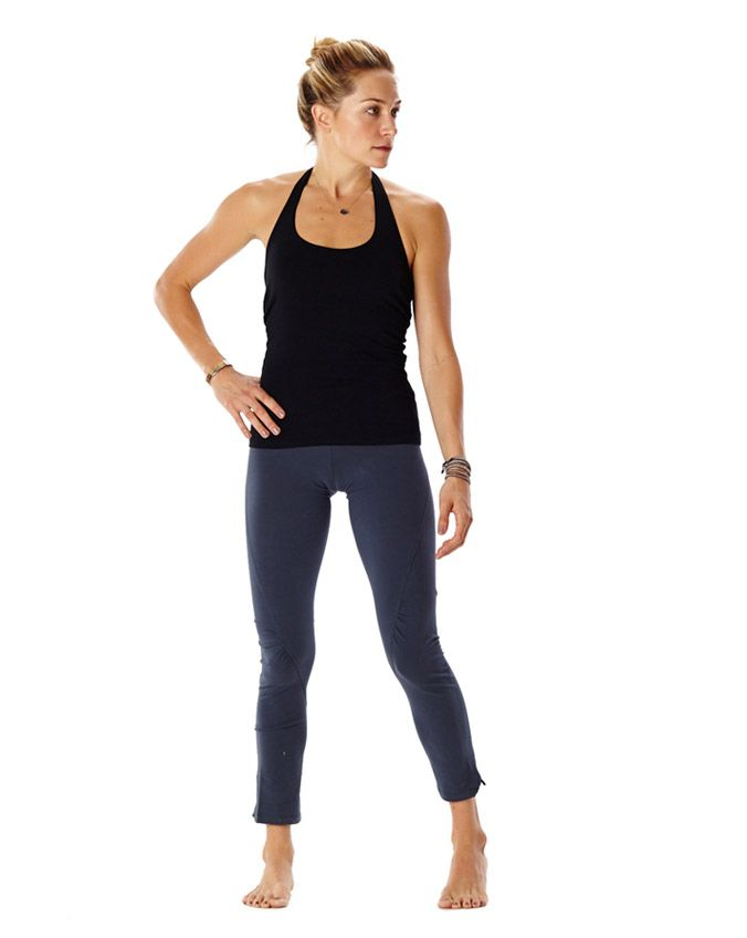 an unexpected take on the classic legging, with subtle ruching below the knee and a side-slit at the ankle. 92% organic cotton, 8% spandex