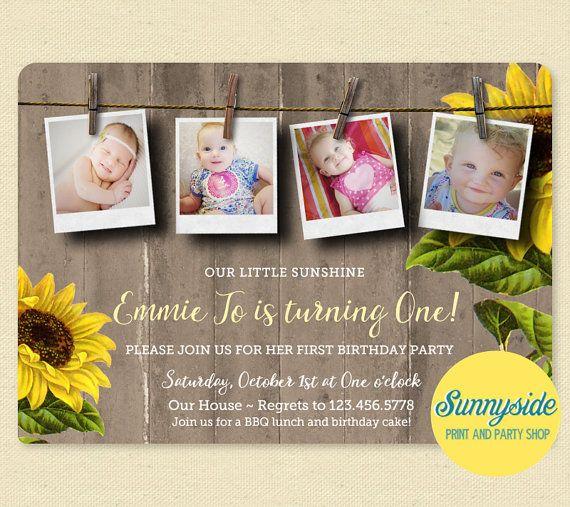 sunflower photo birthday party invitation my sunshine rustic
