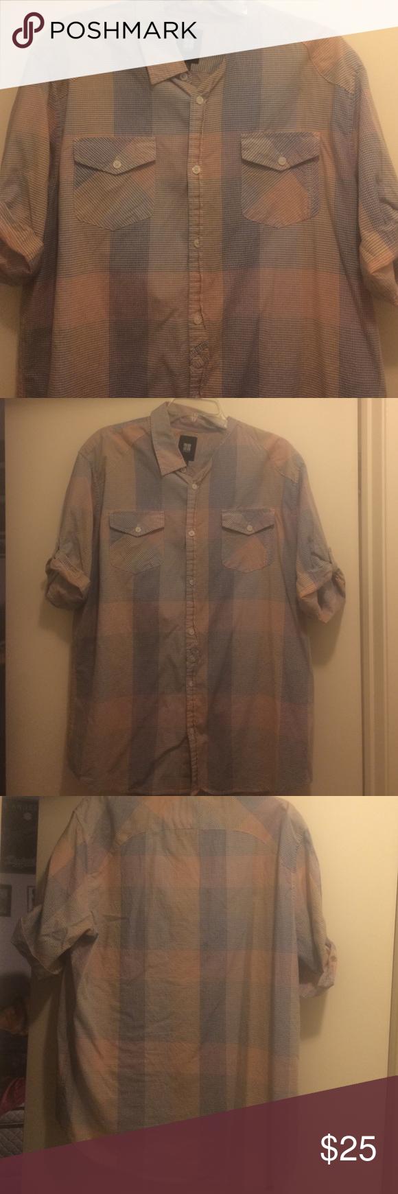 Casual pink dress shirt  Plaid shirt sleeve button down Pink and blue plaid button down short