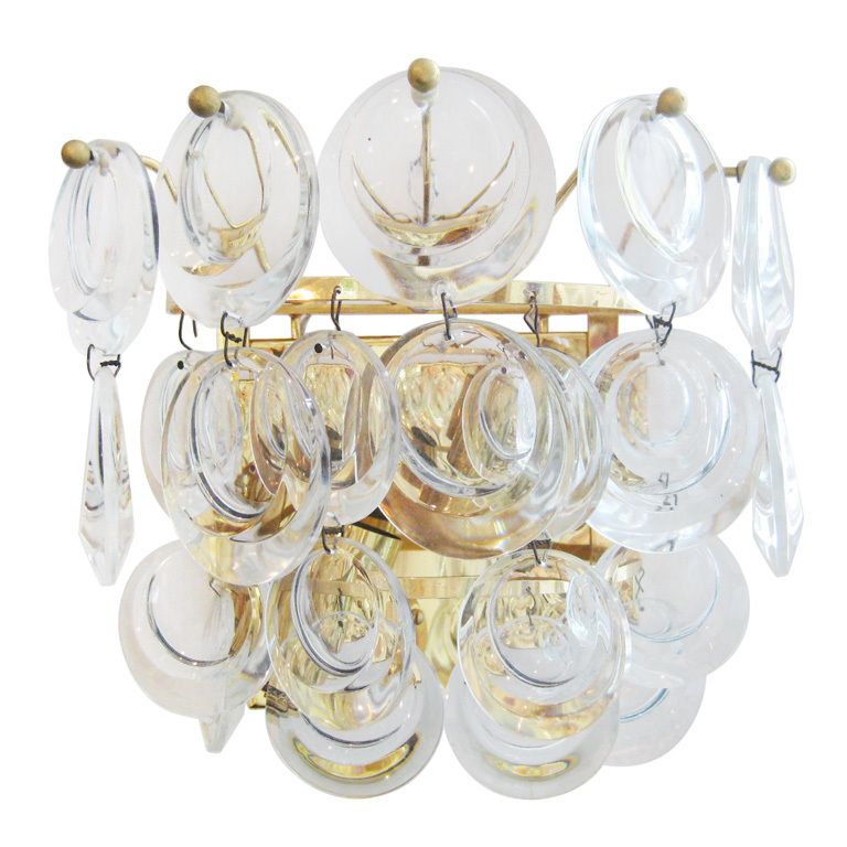 sconces - molded and polished glass disks mounted on a gold plated armature - c1970