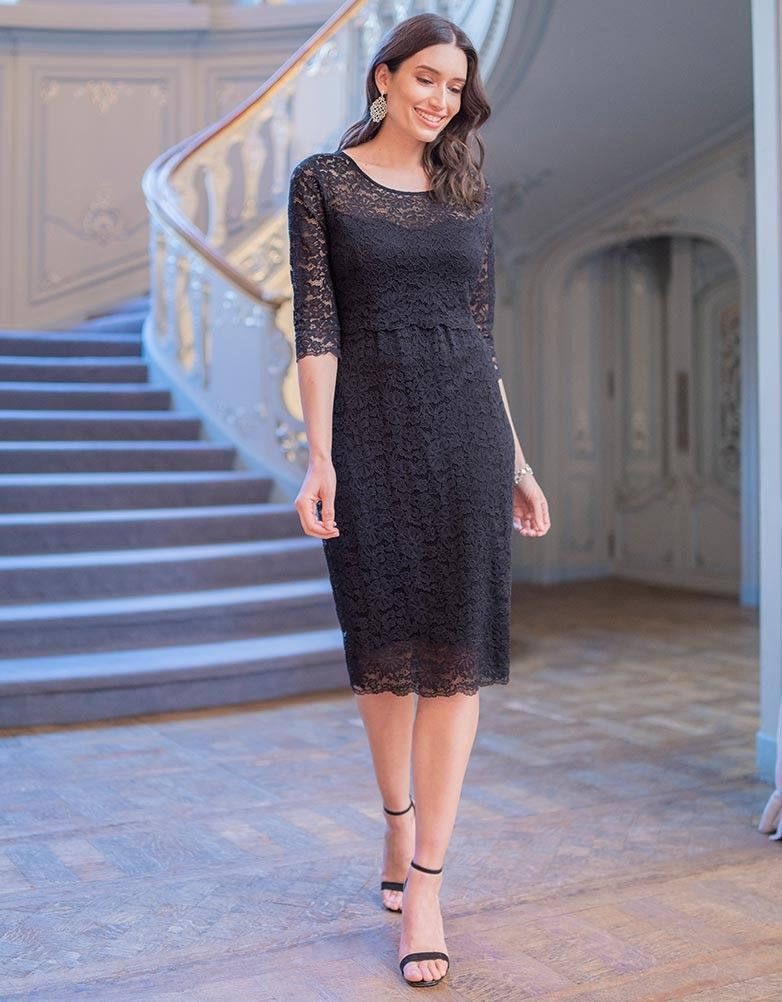 c0a890226e3bd You'll never go wrong with a classic LBD, and our Black Lace Maternity &  Nursing Cocktail Dress is expertly tailored to flatter your figure through  ...