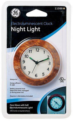 Plug In Night Clock Electroluminescent Battery