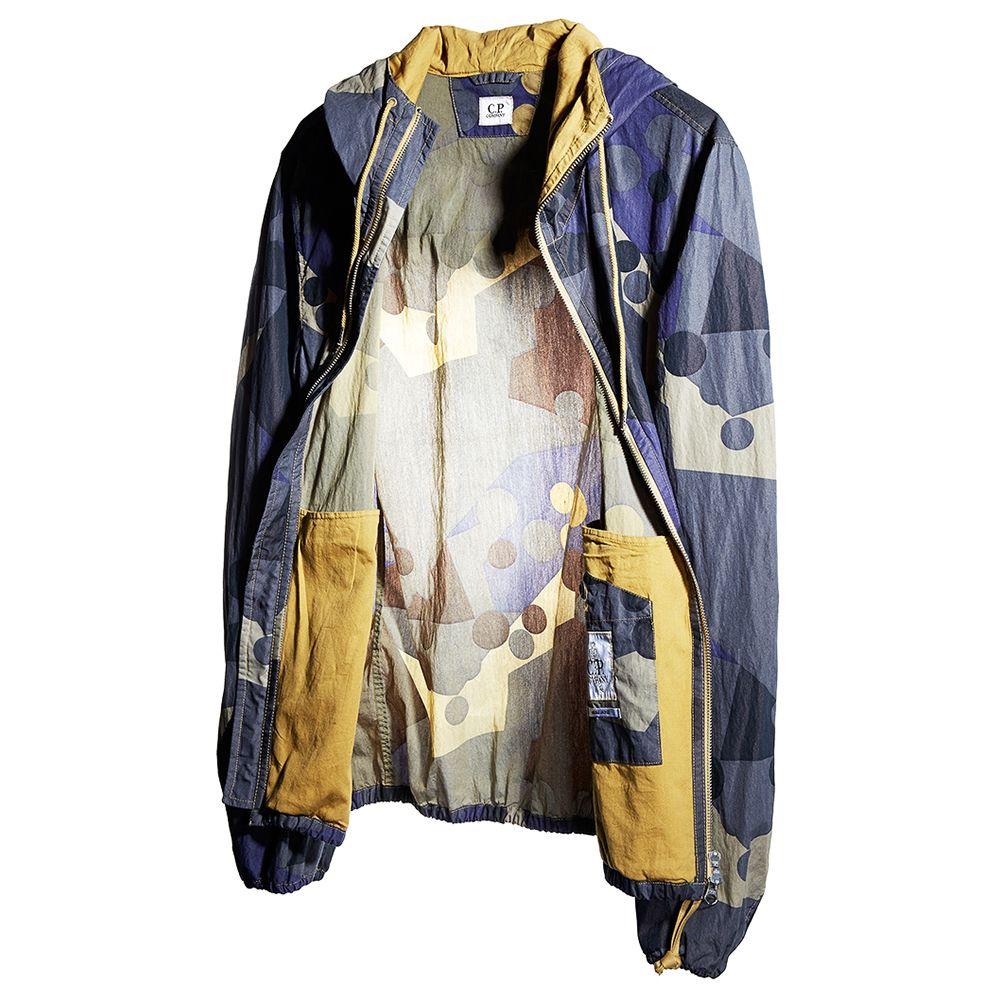 Swedish Camo Canvas Cotton Nylon Goggle Jacket in Blue