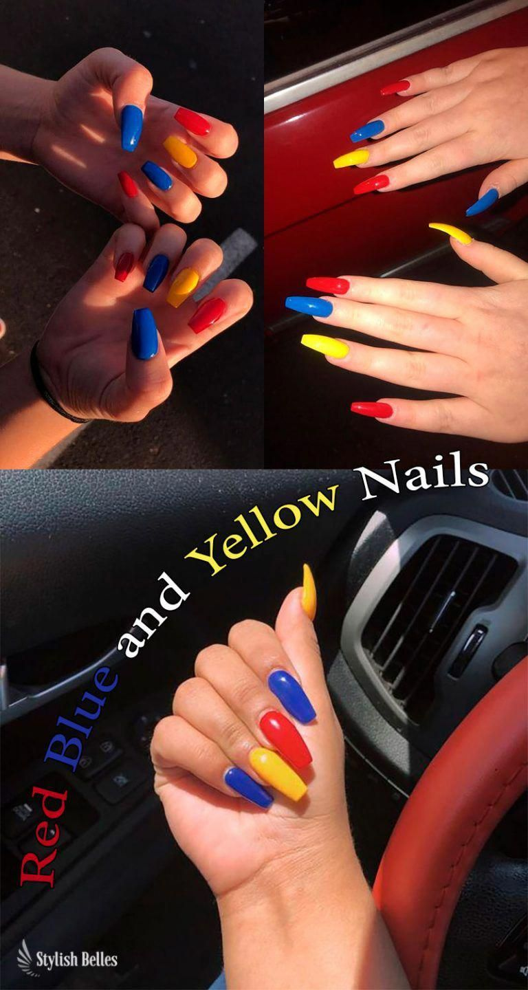 Gorgeous Coffin Shaped Red Blue And Yellow Nails Ideas Rednails Bluenails Yellownails Coffin Red And Silver Nails Red And White Nails Red Nail Art Designs