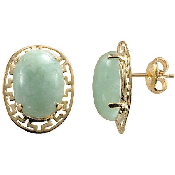 18k Gold Over Silver Jade Greek Key Oval Stud Earrings Green 70 Liked On Polyvore Featuring Jewelry 18 Karat