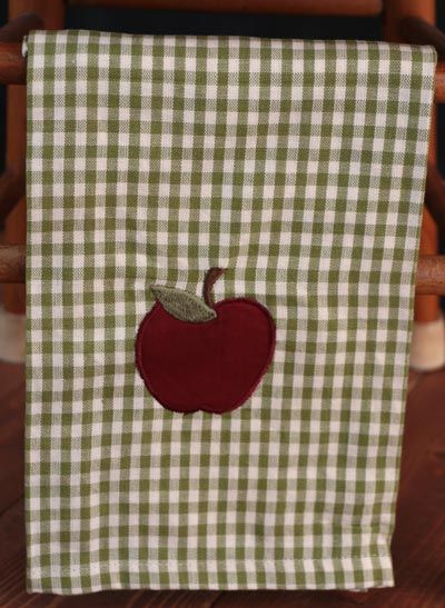 Apple Valley Dishtowels, by India Home Fashions. The Apple Valley Collection features sage green and off-white mini checks with embroidered apple details. This is for the Dishtowel.  Measures approx 20 x 28 inches. 100% cotton. Other coordinating items in the collection also available! <br />