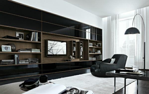 elegante wohnwand ideen eichenholz und glanze frontseite in schwarz