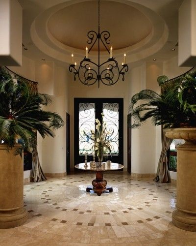 Modern Entryway Designs And Foyer Decorating Creating: Beautiful Foyer, With Great Wrought Iron Doors And Marble
