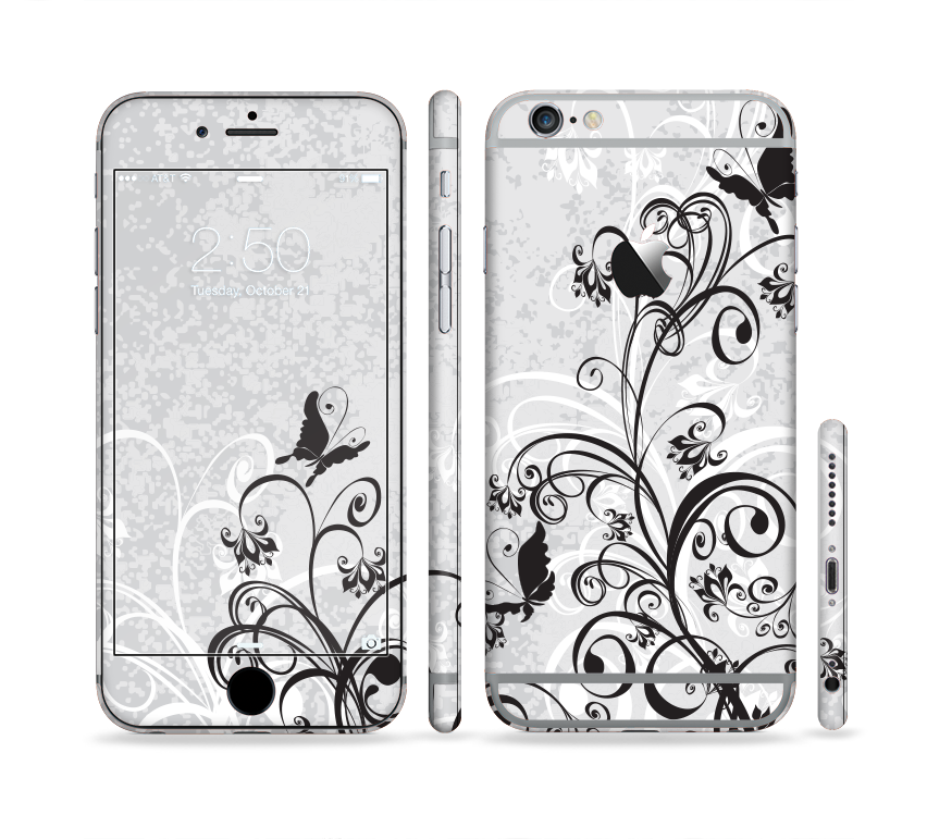 The Black and White Vector Butterfly Floral Sectioned Skin Series for the Apple iPhone 6s Plus