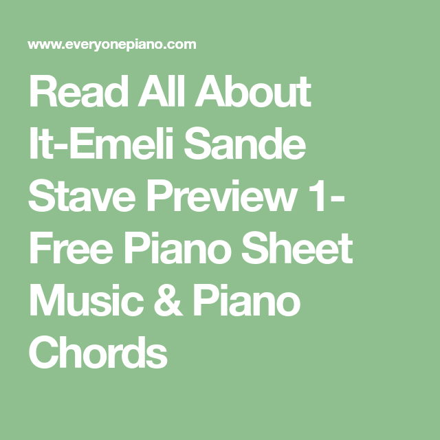Read All About It Emeli Sande Stave Preview 1 Free Piano Sheet
